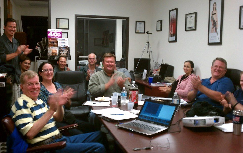Happy students clapping at free Utah CCW class in Laguna Hills, CA