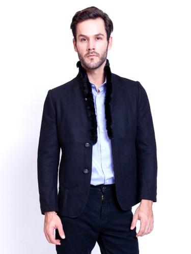 Men Jacket Fur Collar Black