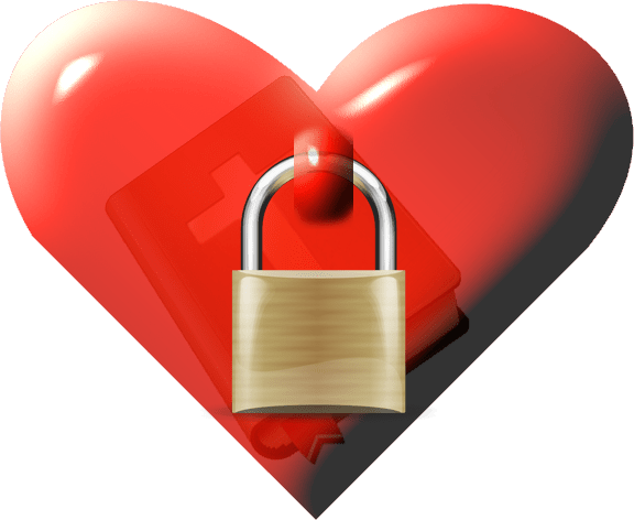 Bible locked in heart