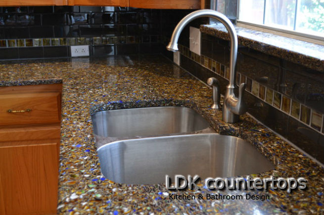 Kitchen Recycled Glass Countertops - Chicago IL