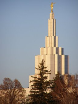 The Idaho Falls temple features symbolic water flowing from the top down.