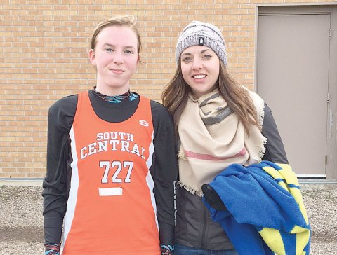 Craik's Grace Dolman, pictured here with coach Tamarra Erlandson, competed in her first provincial cross country meet on Oct. 15 in Delisle.