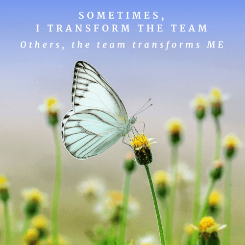 Sometimes, I transform the team. Others, they transform me.