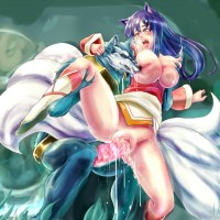 On this image we can witness warwick raping ahri in the vag he has also took hold of her tits he is rigid clipping them and nibbles one of them