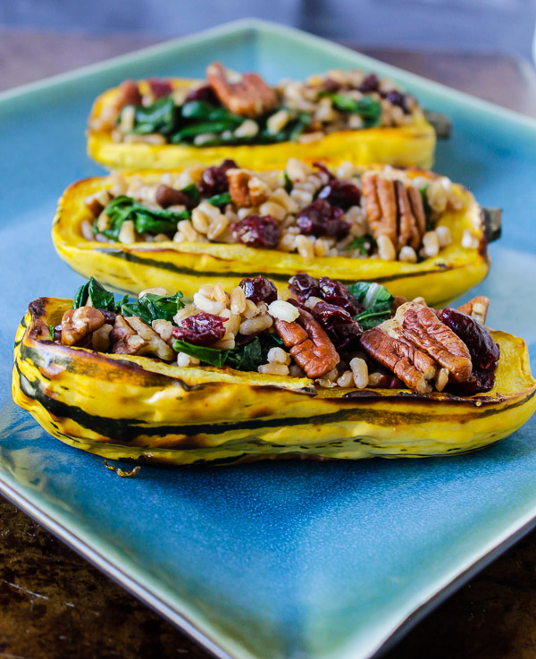 Farro Stuffed Delicata Squash with Pecans, Cranberries, and Kale ...
