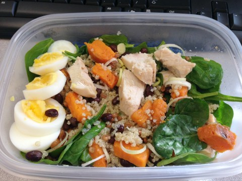 Baby spinach, sweet potato, organic chicken breast meat, black beans, leeks, hardboiled eggs, quinoa