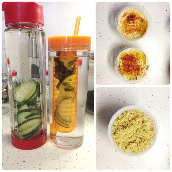 Homemade hummus, quinoa, water infused with cucumber and frozen mint leaves