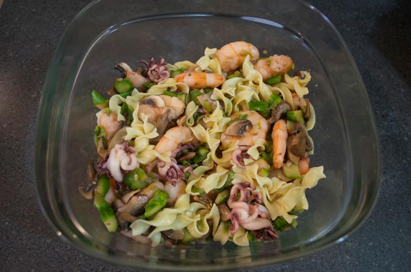 Shrimp, Squid and Asparagus Noodles