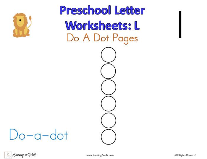 Preschool Letter Worksheets: L Build A Letter