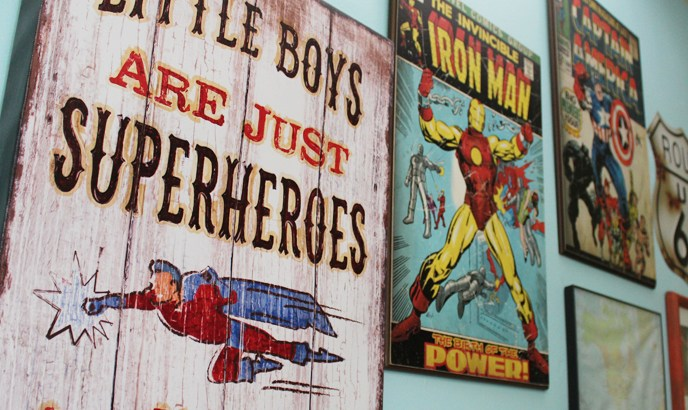 Boys bedroom wall decor - superheroes