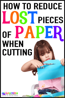 Teacher Tip:  How to reduce lost pieces of paper when your students are cutting.