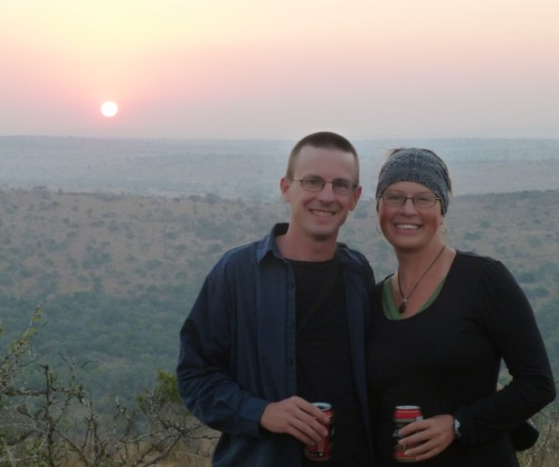"Enjoying a ""sun-downer"" while on safari in South Africa."
