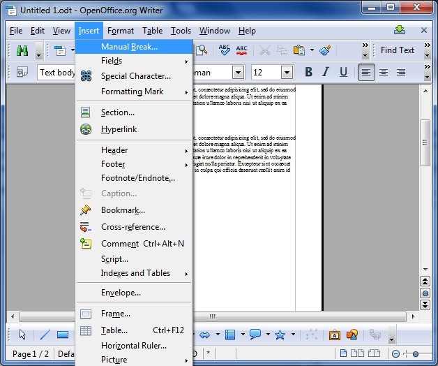 open office screenshot
