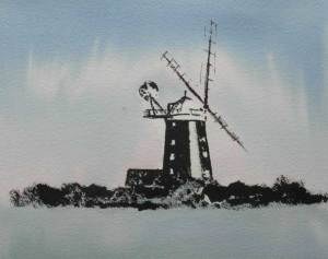 ink and watercolour painting of Burnham Overy windmill