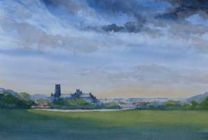 watercolour of ely across the fields