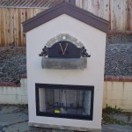 Via Vega themed outdoor pizza oven w/ a fire place insert by Fordens in San Luis Obispo.