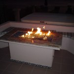 """Custom outdoor fire pit in action."""
