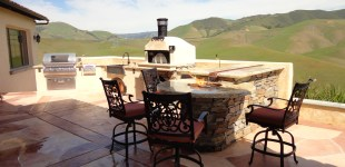 Tuscan Themed Outdoor Kitchen w/ Earth Stone Pizza Oven and Fire Pit w/ Water Feature