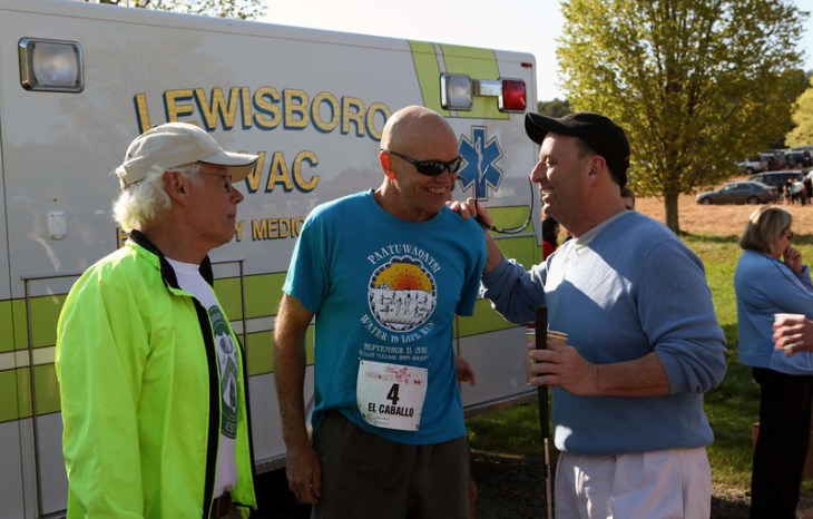 Tony Godino, Micah True (aka Caballo Blanco), and Tom Kallish before the 2011 Loop.