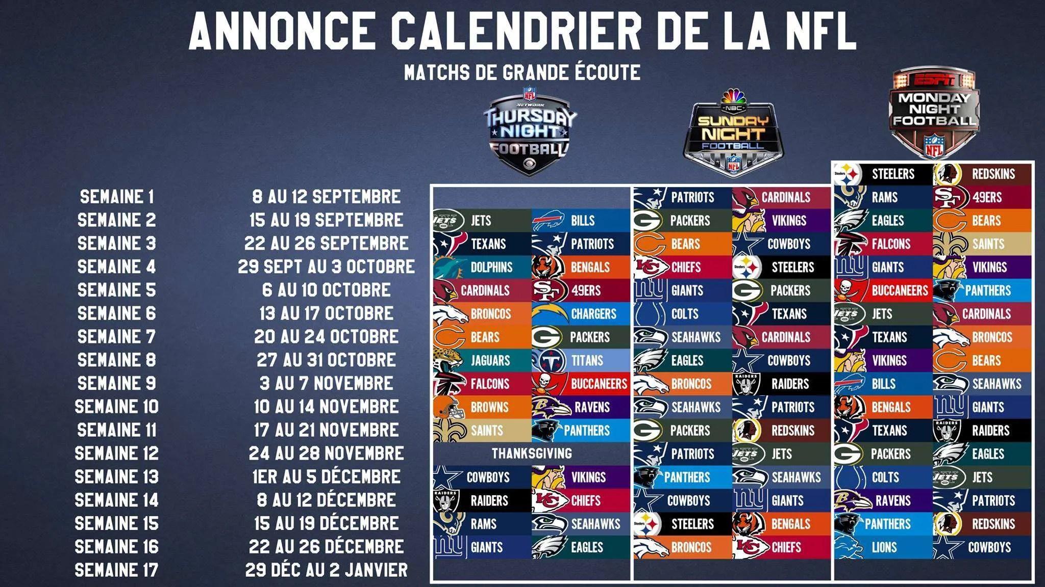 Le calendrier nfl 2016 d voil le blitz nfl - Date des saisons 2016 ...