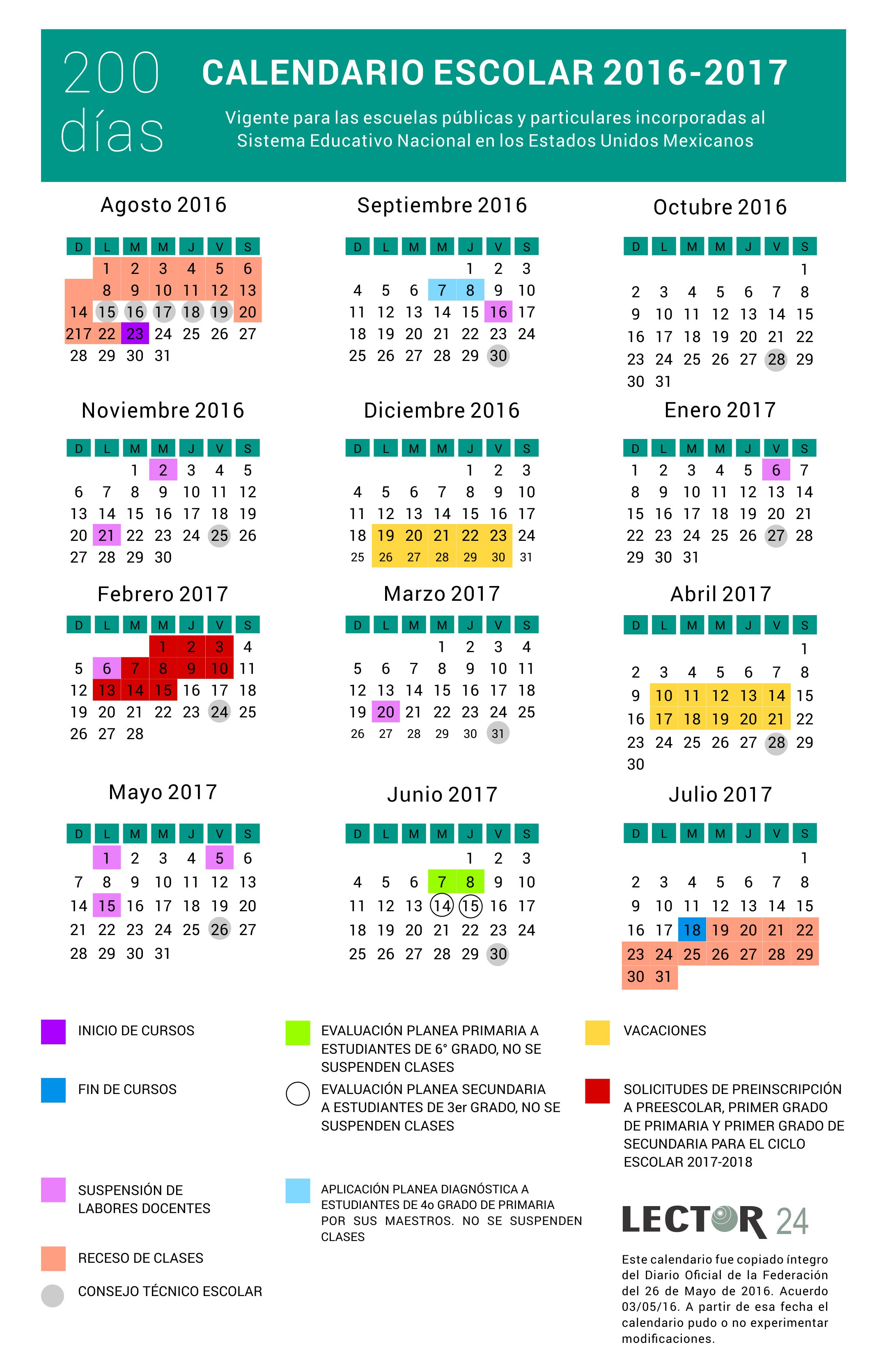 2016 05 26 Calendario escolar 2016-2017 SEP 200 días