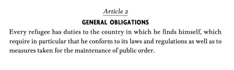 Utdrag ur FN:s Flyktingkonvention.