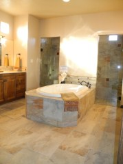 Drama in this Placitas master bath