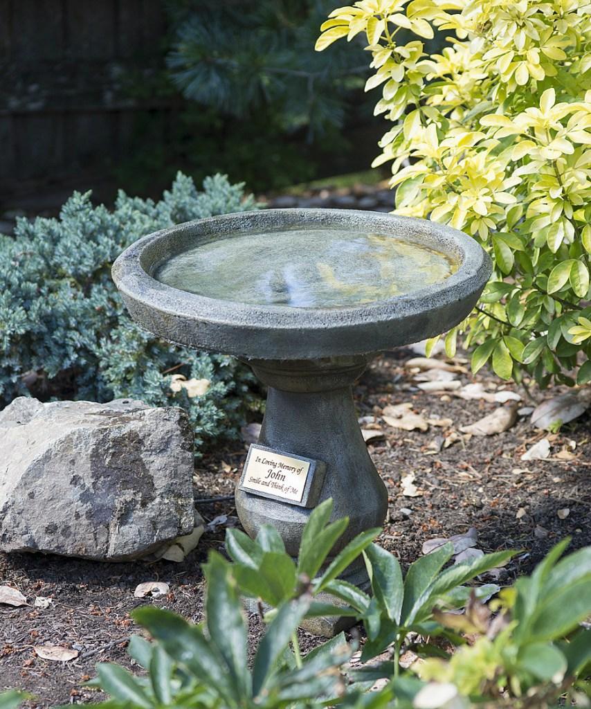 Rotondo design legacy memorial birdbath