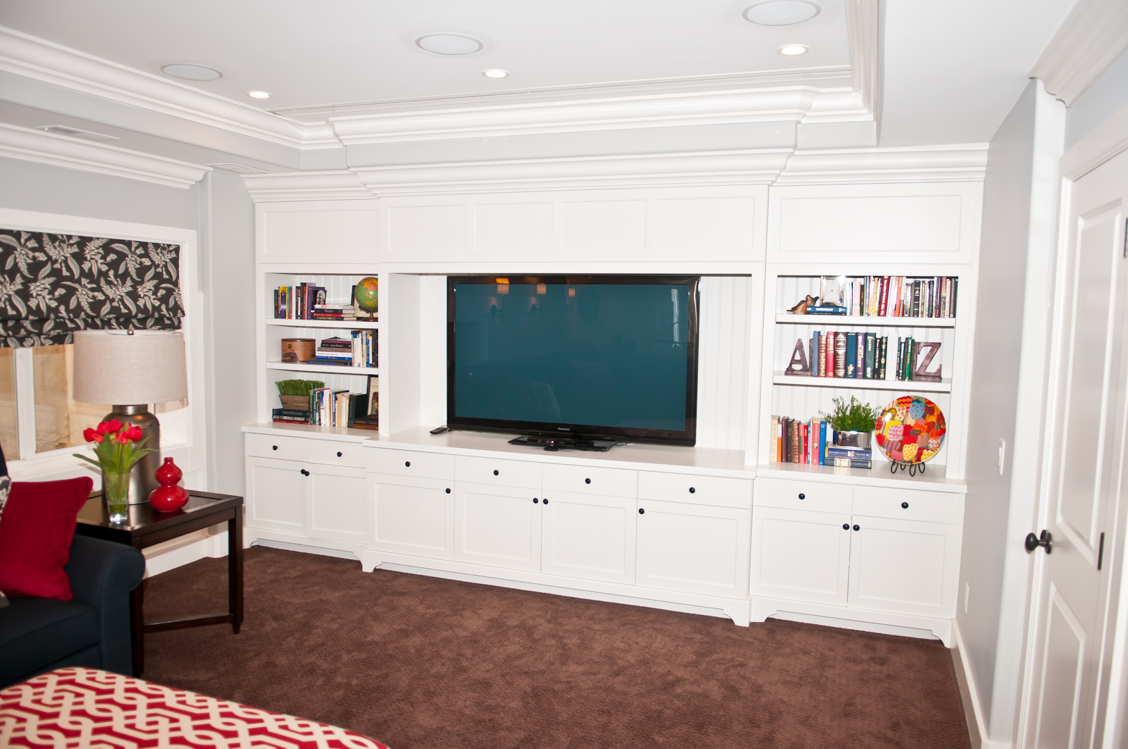 Custom White Shaker Entertainment Center - Legacy Mill & Cabinet