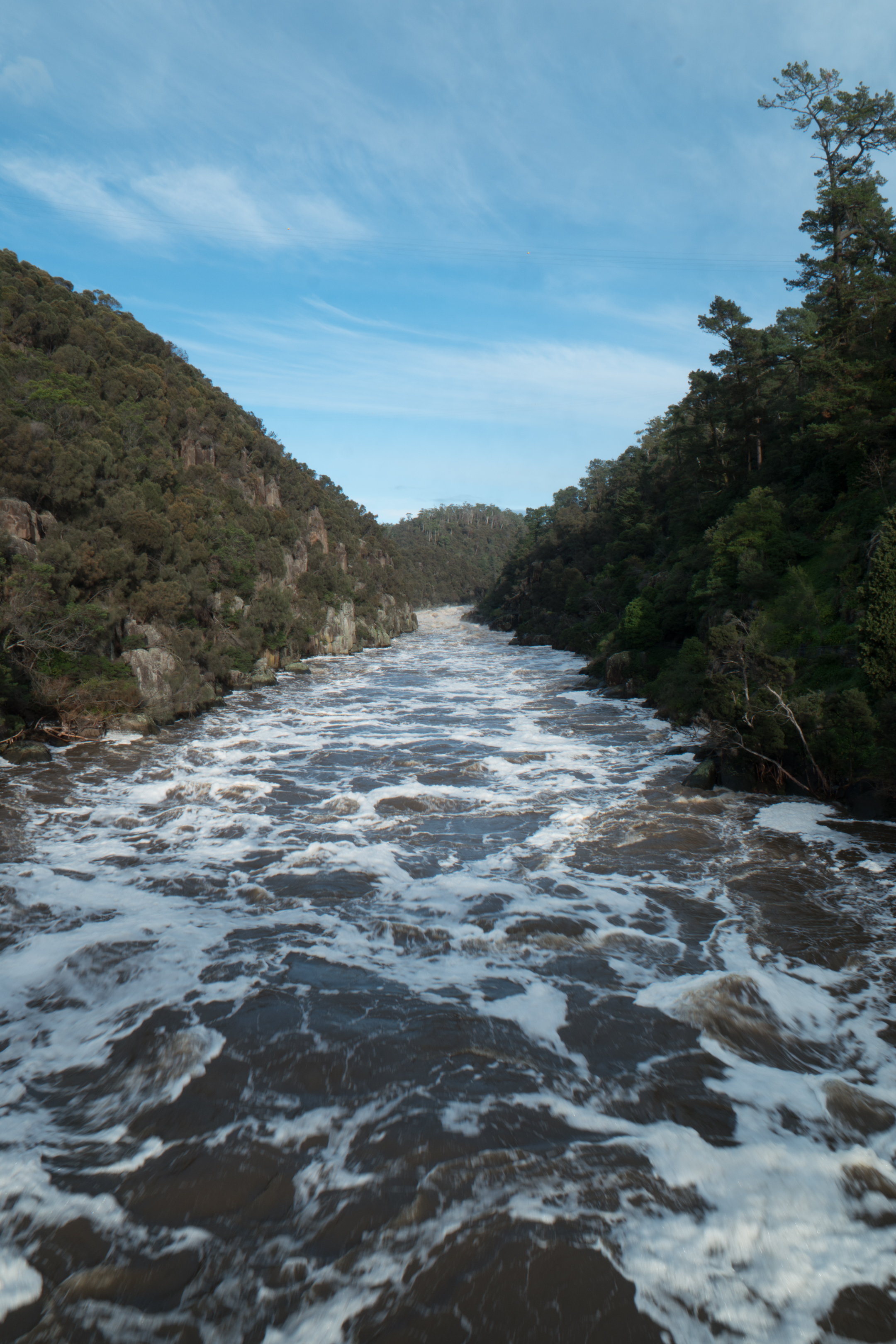 Launceston's Cataract Gorge in flood, June 2016