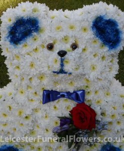 Funeral-Tribute-Teddy-Bear-with-rose