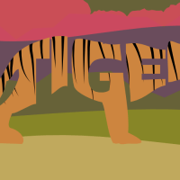 282 of 365 is a tiger made of text #design #Inkscape#typography
