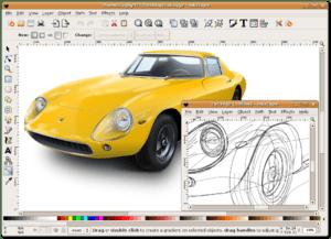 Screenshot of Inkscape 0.45 on Ubuntu, showing...