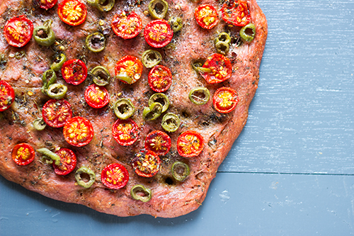 Beetroot Focaccia using Pizza Dough