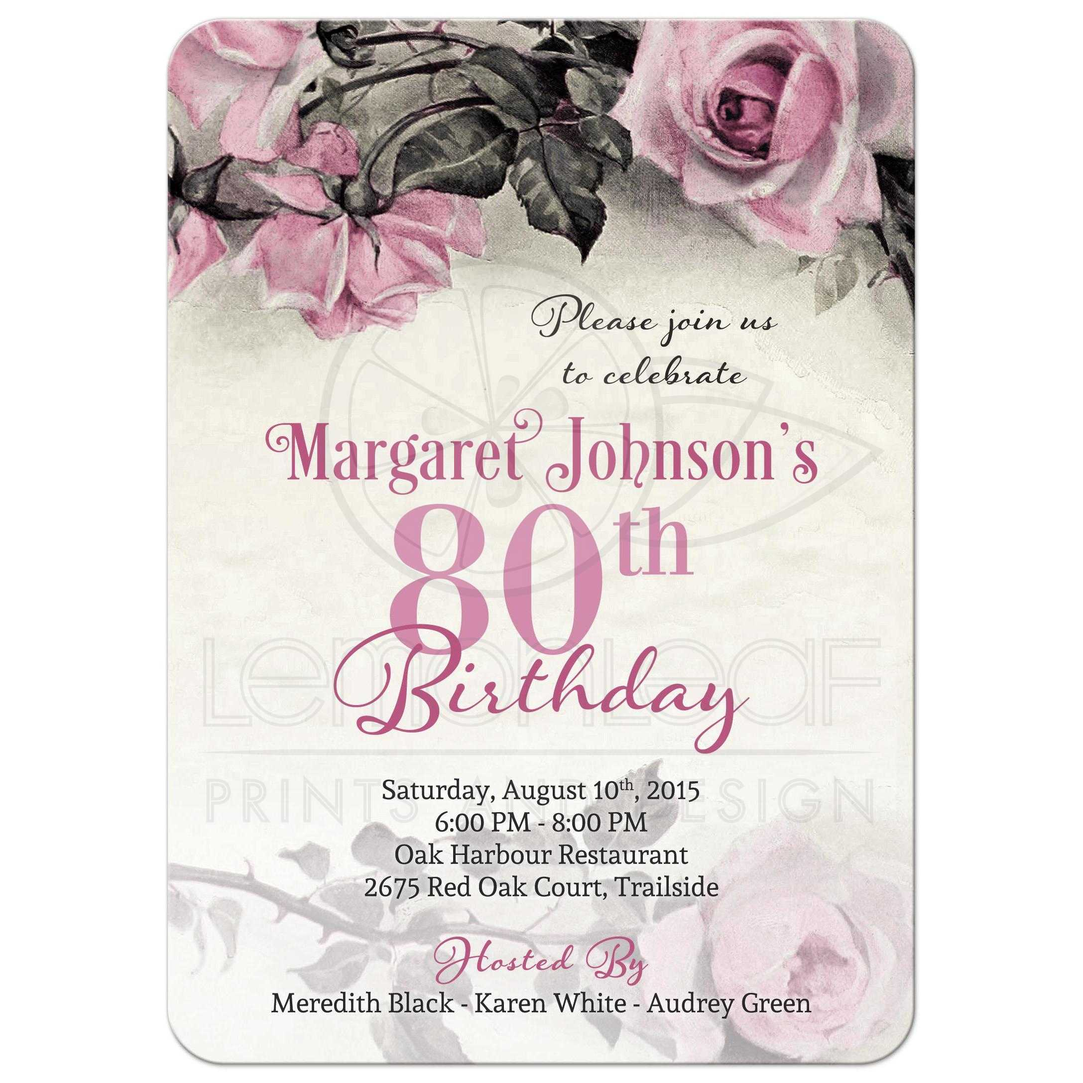 Fullsize Of 80th Birthday Invitations