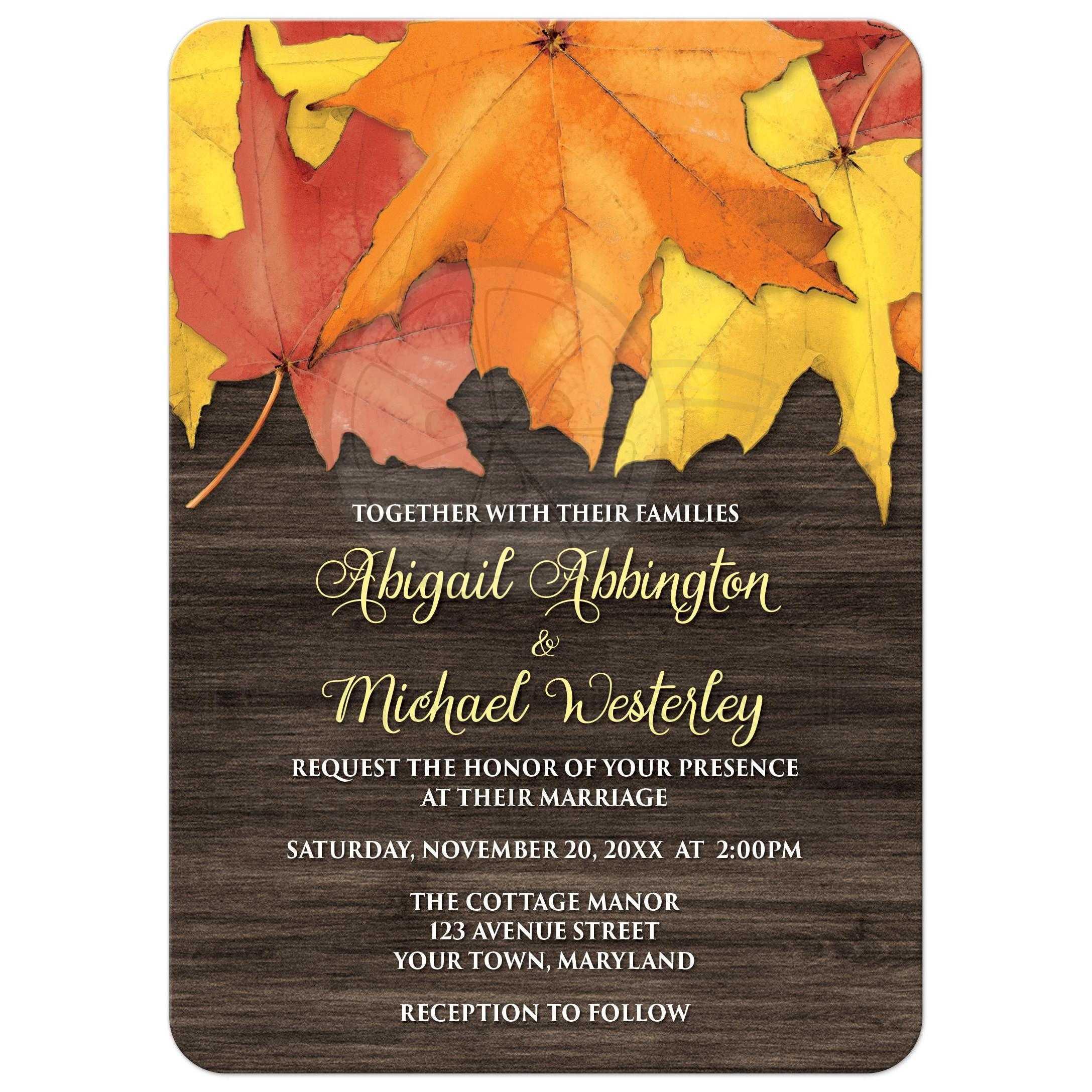 rustic wood wedding invitations wood wedding invitations wedding invitations rustic autumn leaves and wood