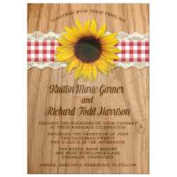 Clever Rsvp Rustic Gingham Lace Sunflower Wedding Invitations Front Wedding Invitations Rustic Gingham Lace Sunflower Sunflower Wedding Invitations Rsvp Cards Sunflower Wedding Invitations