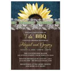 Gray 30994 Rectangle Sunflower Denim Wood Lace I Do Bbq Couples Shower Invitations Fiesta Couples Shower Invitations Minted Couples Shower Invitations