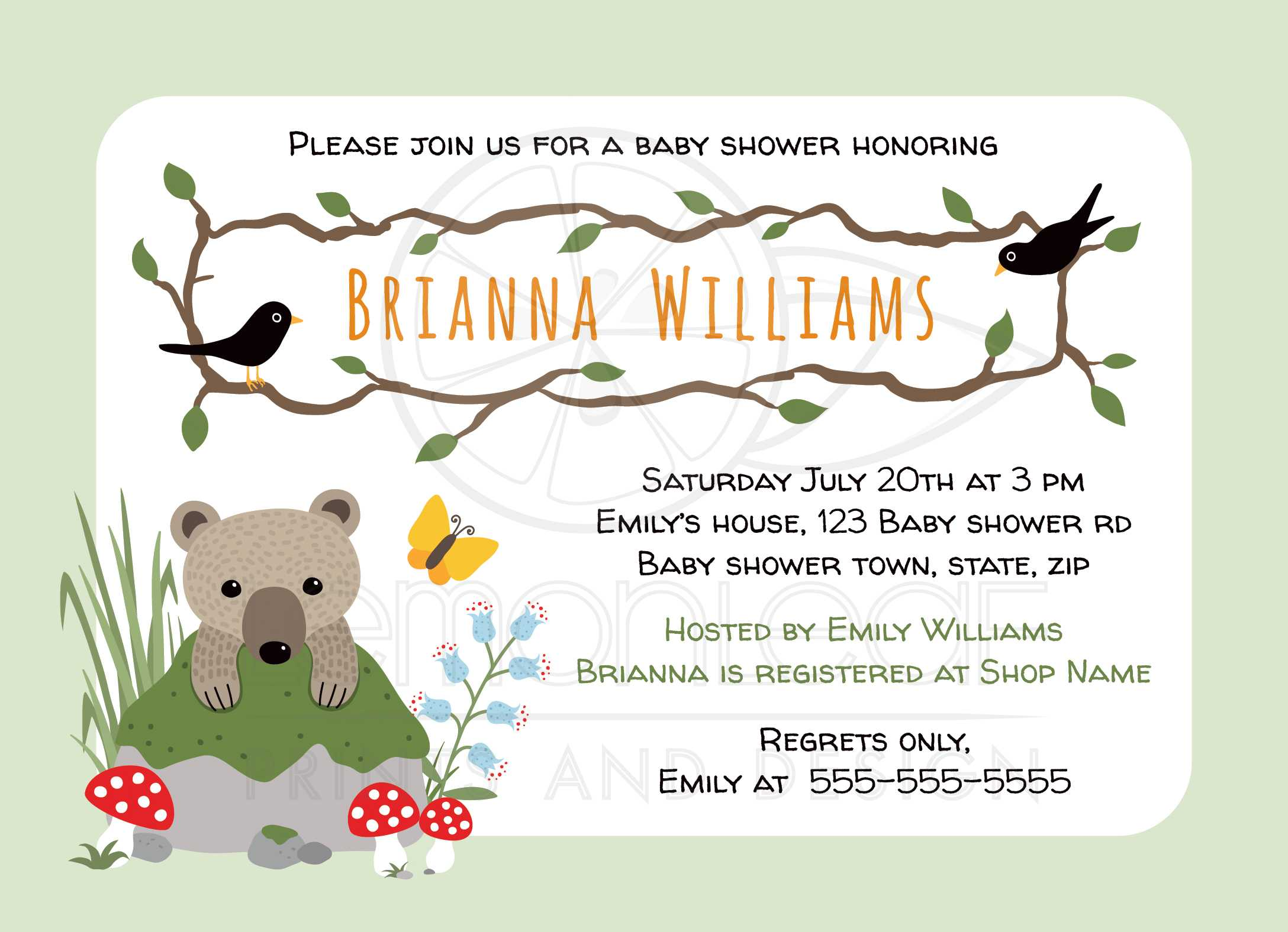 Fullsize Of Woodland Baby Shower Invitations