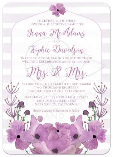 purple wedding invitation lavender wedding invitations Champagne and Eggplant Purple Invitation with Orchid Design