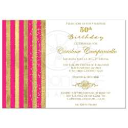 Swish Birthday Party Invitationwith Faux G Foil Stripes Birthday Invitation Hot G Stripes Faux 50th Birthday Invitations Templates 50th Birthday Invitations Him Hot Fuchsia Pink