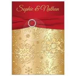 Pristine Red Ribbon Andjewel Buckle Winter Wedding Invitation G Snowflakes Printed Ribbon Winter Wedding Invitation Sets Winter Wedding Invitations Etsy G Winter Wedding Invitation