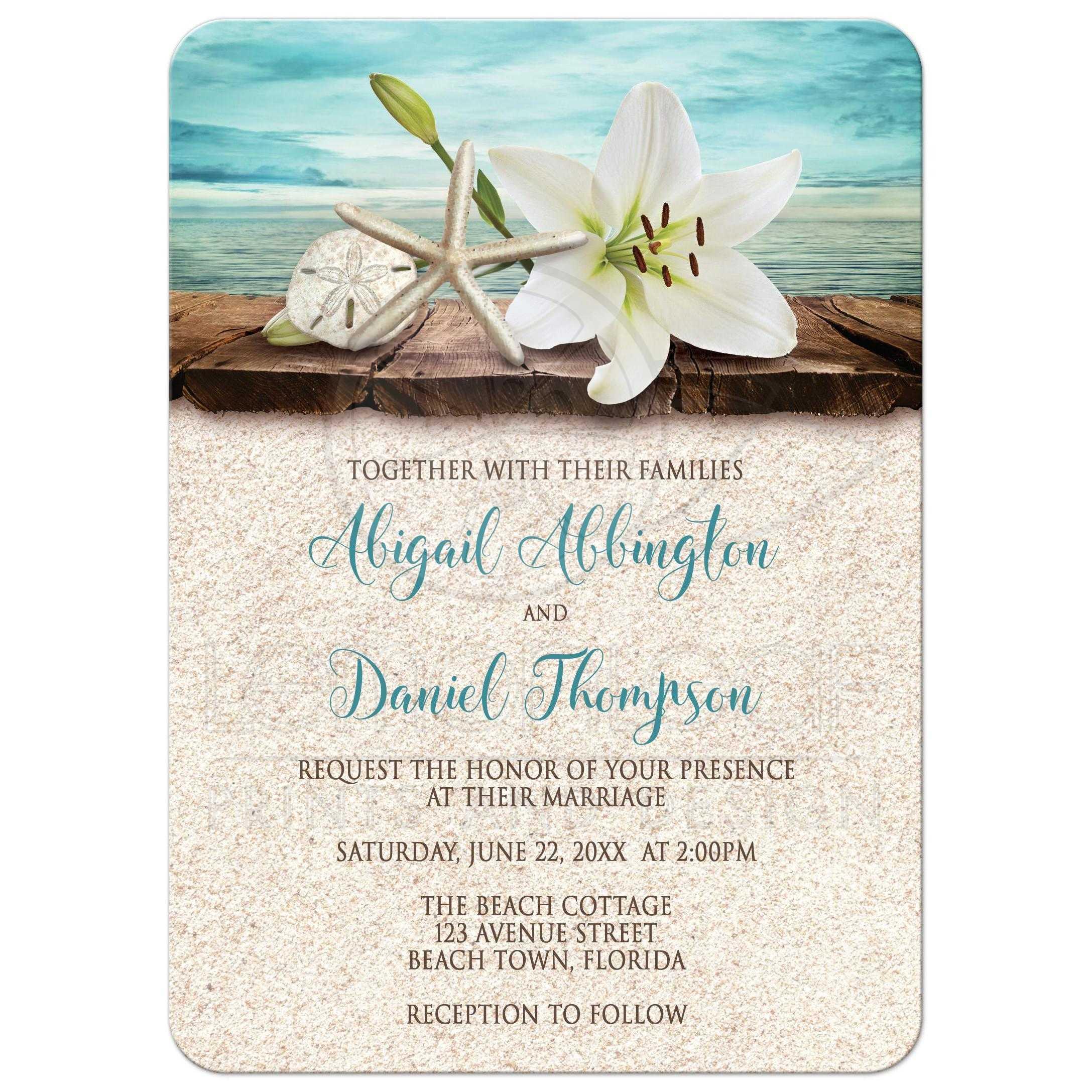 beach wedding invitations with sand beach wedding invitations Invitations Beach Lily Seass And Sand