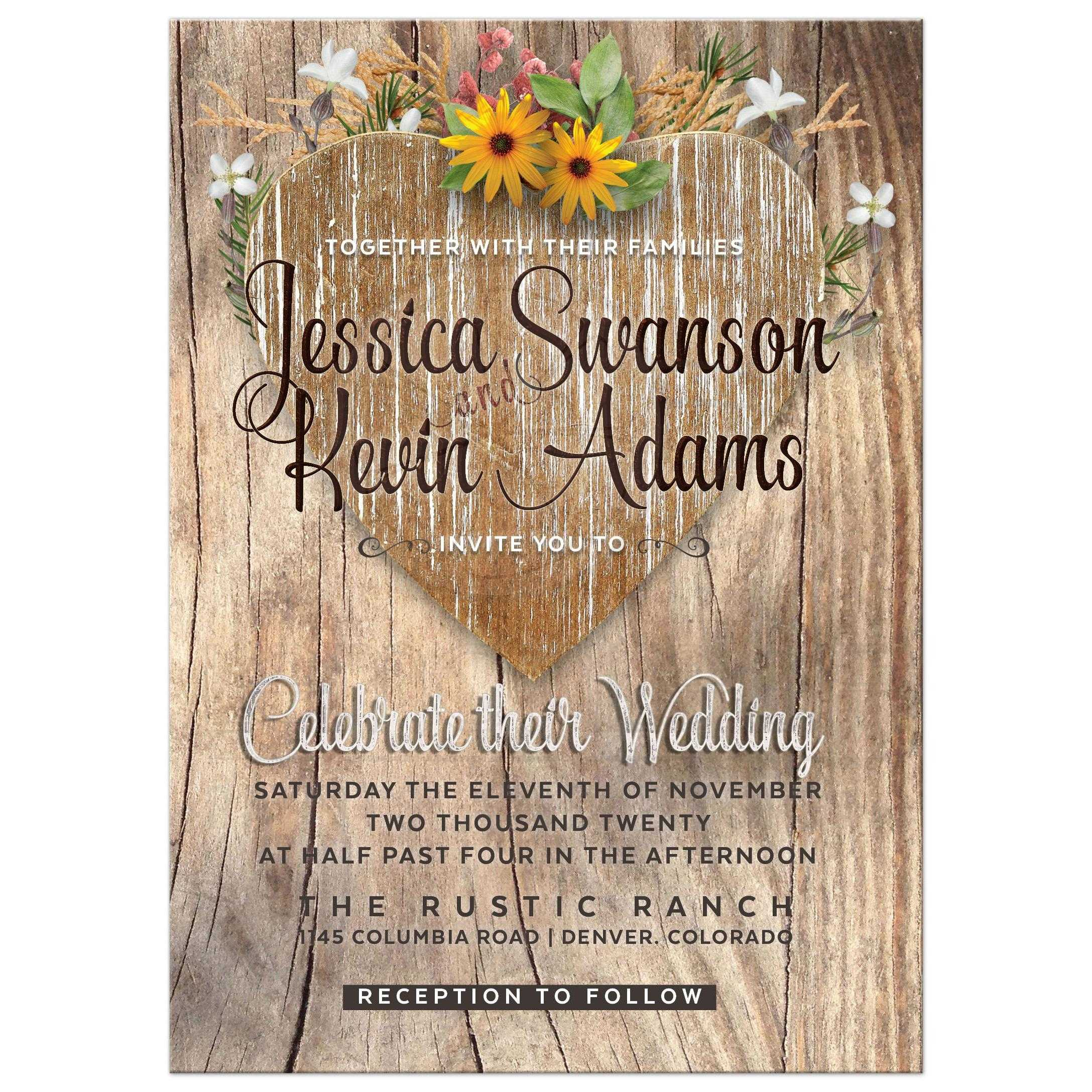 Teal Love Heart Wildflowers Rustic Timber Wedding Invitation Love Heart Wildflowers Rustic Wedding Invitation Rustic Wedding Invitations Rsvp Rustic Wedding Invitations Etsy wedding Rustic Wedding Invitations