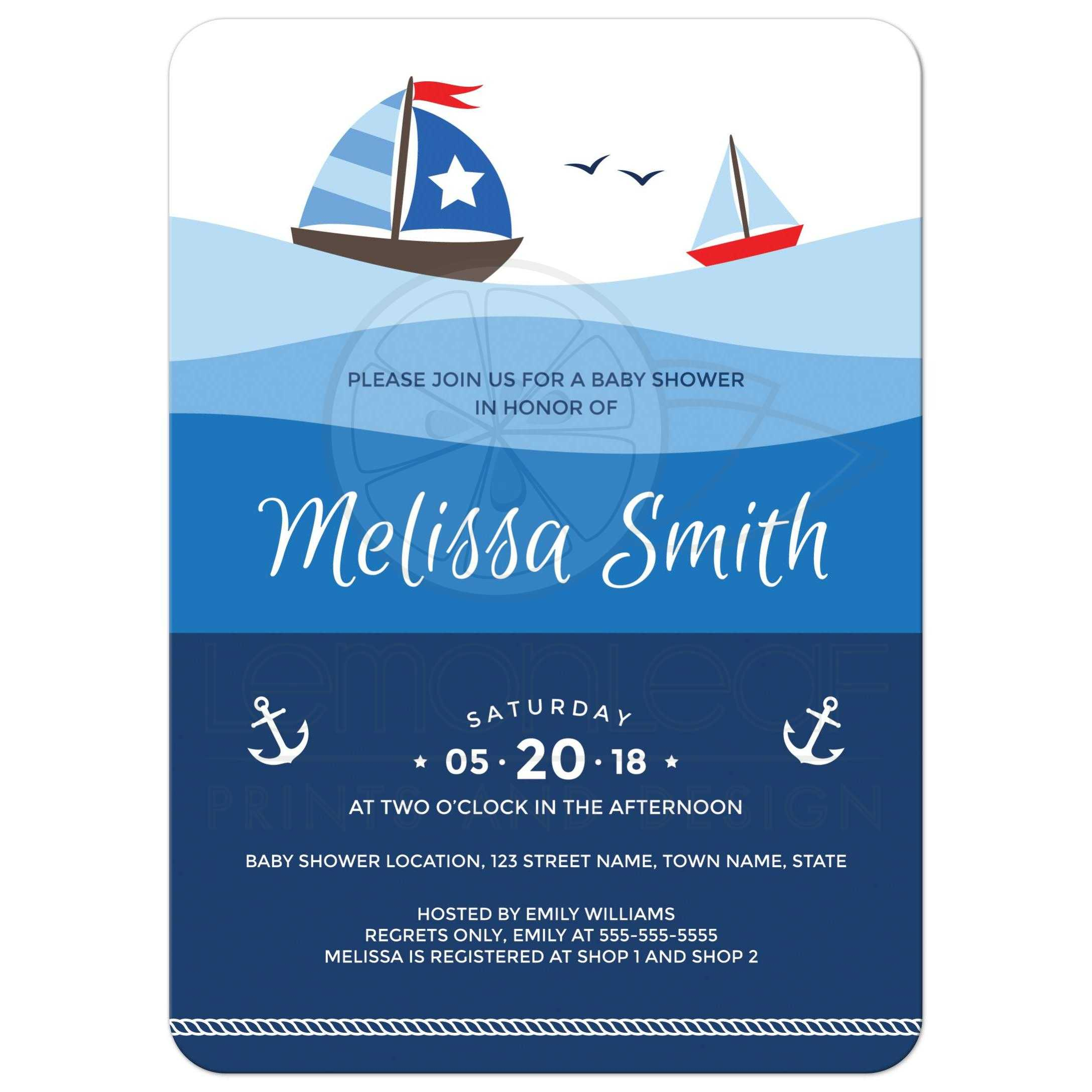 Gallant Sailboat Baby Shower Invitation Couples Anchor Sailboats On Ombre Ocean Waves Baby Shower Invitations Nautical Med Girl Nautical Baby Shower Invitations Rope Border Nautical Baby Shower Invita invitations Nautical Baby Shower Invitations