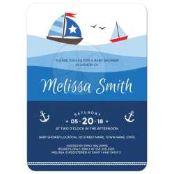 Gallant Sailboat Baby Shower Invitation Couples Anchor Sailboats On Ombre Ocean Waves Baby Shower Invitations Nautical Med Girl Nautical Baby Shower Invitations Rope Border Nautical Baby Shower Invita