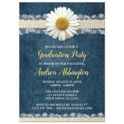 Tremendous 44777 Rectangle Daisy Burlap Lace Denim Graduation Party Invitations Graduation Party Invitations Etsy Graduation Party Invitations Zazzle