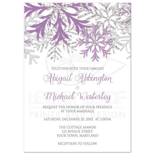 Cheery 45915 Rectangle Snowflake Purple Silver Winter Wedding Invitations Winter Wedding Invitations Uk Winter Wedding Invitations Psd