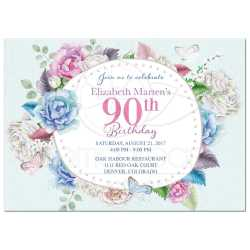 Tempting Watercolor Floral Butterfly Birthday Invitation Front Watercolor Rose Peony Birthday Invitation Floral Frame 90th Birthday Invitations Response Cards 90th Birthday Invitations Serviettes