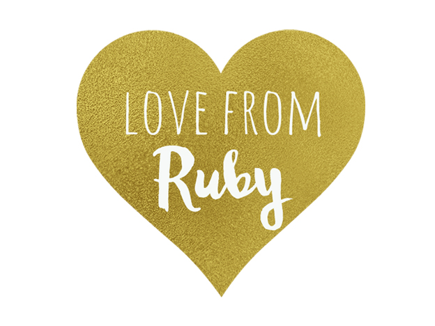 Love From Ruby Gold Heart